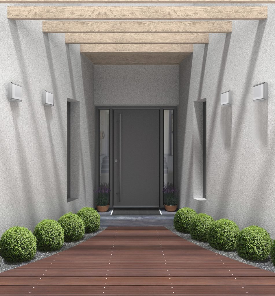 fictitious 3D rendering of a modern home entrance