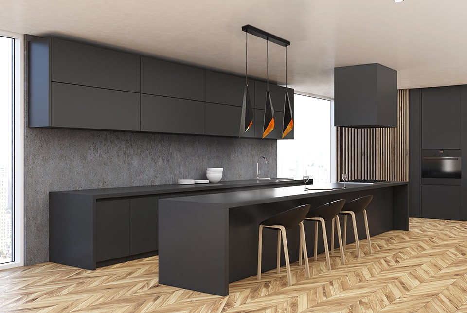 Modern white and wooden kitchen corner with a wooden floor, gray cupboards and countertops and an oven. 3d rendering mock up
